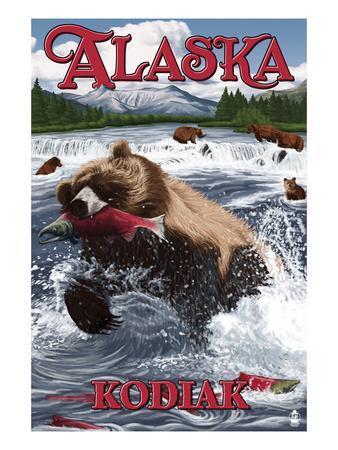 Kodiak, Alaska - Grizzly Bear Fishing