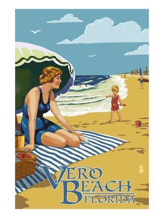 Woman and Beach Scene - Vero Beach, Florida