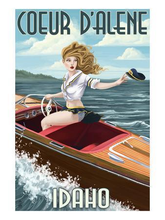 Coeur D'Alene, Idaho - Boating Pinup Girl