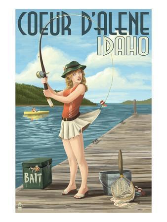 Coeur D'Alene, Idaho - Fishing Pinup Girl