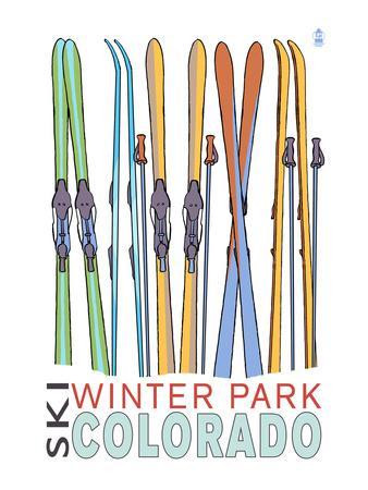 Winter Park, Colorado - Skis in Snow