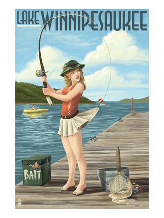 Lake Winnipesaukee, New Hampshire - Pinup Girl Fishing