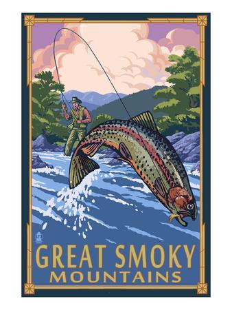 Angler Fly Fishing Scene - Great Smoky Mountains