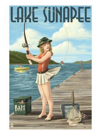 Lake Sunapee, New Hampshire - Pinup Girl Fishing