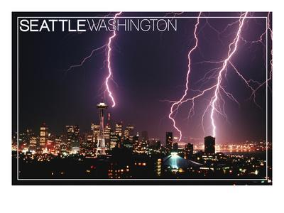 Seattle, Washington - Skyline and Lightening Strike