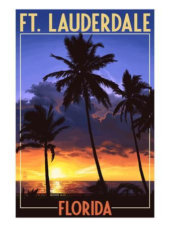 Ft. Lauderdale, Florida - Palms and Sunset