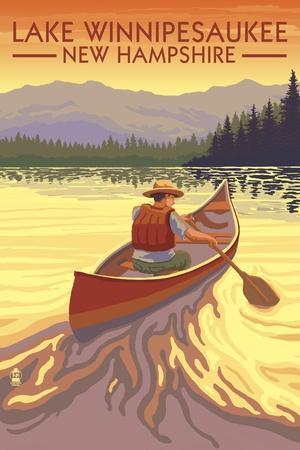 Lake Winnipesaukee, New Hampshire - Canoe Sunset