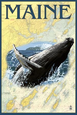 Maine - Humpback Whale and Nautical Chart