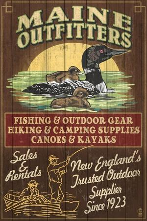 Maine - Loon Outfitters Vintage Sign