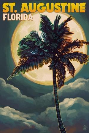 St. Augustine, Florida - Palms and Moon