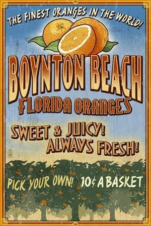 Boynton Beach, Florida - Orange Grove Vintage Sign