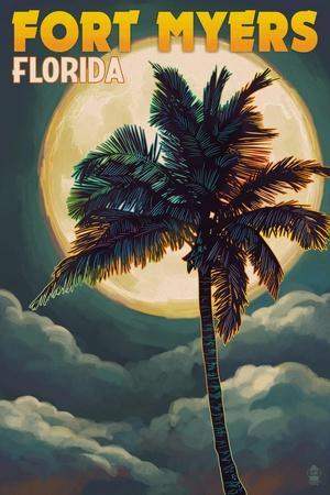 Fort Myers, Florida - Palms and Moon