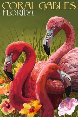 Coral Gables, Florida - Flamingos
