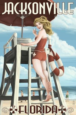 Jacksonville Beach, Florida - Lifeguard Pinup Girl