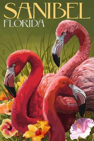 Sanibel, Florida - Flamingos