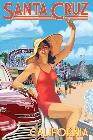 Santa Cruz, California - Woman Waving and Rides