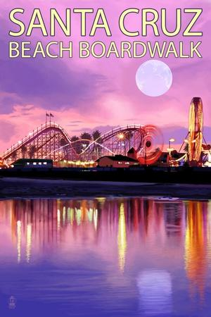 Santa Cruz, California - Beach Boardwalk and Moon at Twilight