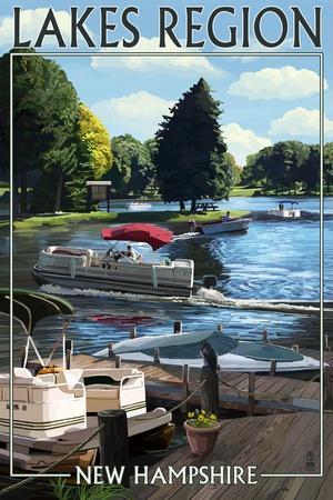 Lakes Region, New Hampshire - Pontoon and Lake