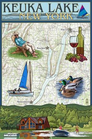 Keuka Lake, New York - Nautical Chart