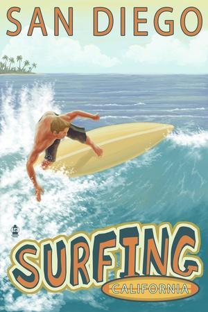 San Diego, California - Surfer Tropical