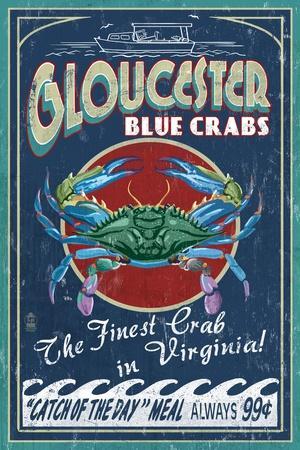 Gloucester, Virginia - Blue Crab Vintage Sign