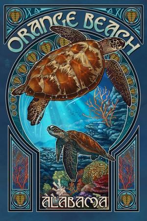 Orange Beach - Alabama - Sea Turtle Art Nouveau