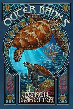 Outer Banks - North Carolina - Sea Turtle Art Nouveau