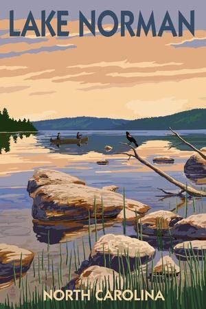 Lake Norman, North Carolina - Lake Scene and Canoe