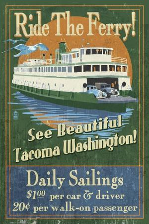 Tacoma, Washington - Ferry Ride Vintage Sign