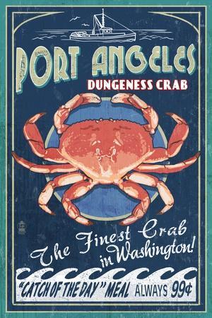 Port Angeles, Washington - Dungeness Crab Vintage Sign