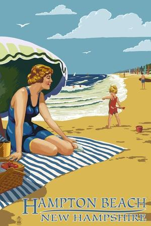 Hampton Beach, New Hampshire - Woman on the Beach