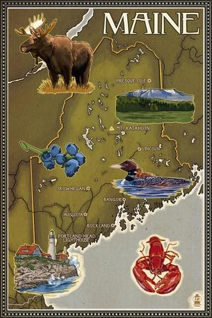 Maine Map and Icons
