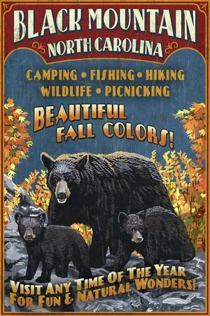 Black Mountain, North Carolina - Black Bears Vintage Sign