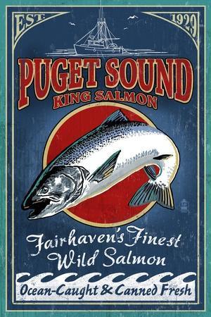 Fairhaven, Washington - King Salmon Vintage Sign