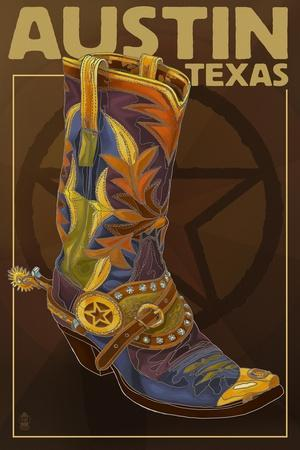 Austin, Texas - Boot and Star