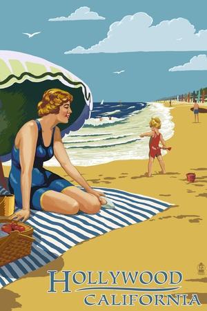 Hollywood, California - Woman on Beach