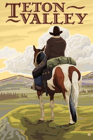 Teton Valley, Idaho - Cowboy on Ridge