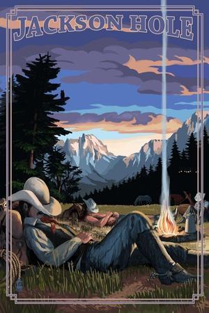 Jackson Hole, Wyoming - Cowboy Camping Night Scene