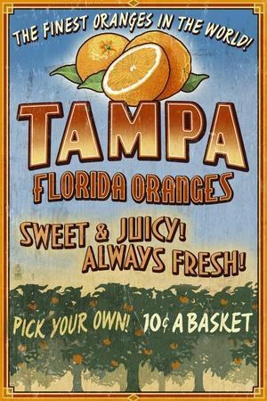 Tampa, Florida - Orange Grove Vintage Sign