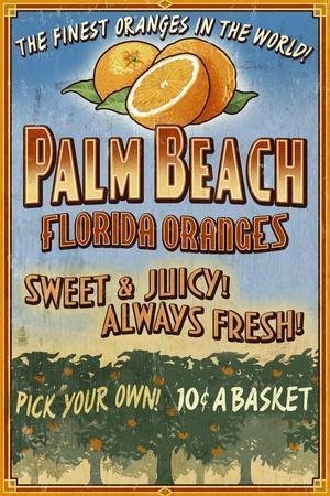 Palm Beach, Florida - Orange Grove Vintage Sign