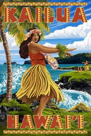 Hawaii Hula Girl on Coast - Kailua, Hawaii