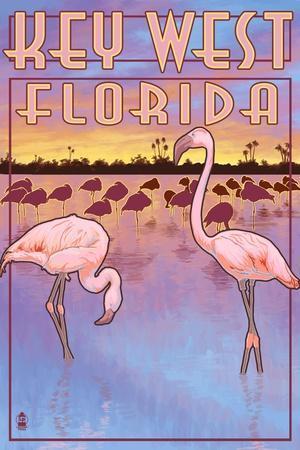 Key West, Florida - Flamingos