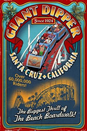 Santa Cruz, California - Giant Dipper Roller Coaster Vintage Sign