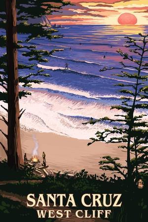 Santa Cruz, California - West Cliff Sunset and Surfers