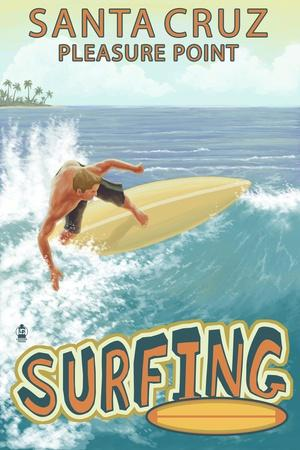 Santa Cruz, California - Pleasure Point Surfer Scene