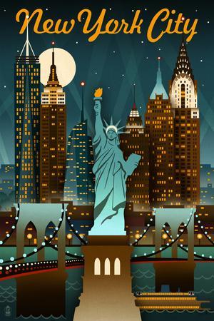 New York City, New York - Retro Skyline