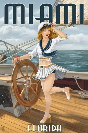 Miami, Florida - Pinup Girl Sailing