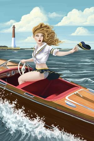 Pinup Girl Boating