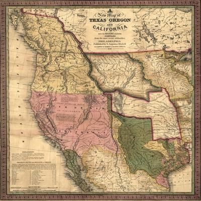 Texas, Oregon, and California - Vintage Map