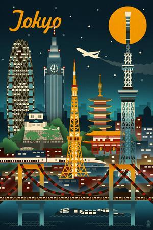 Tokyo, Japan - Retro Skyline